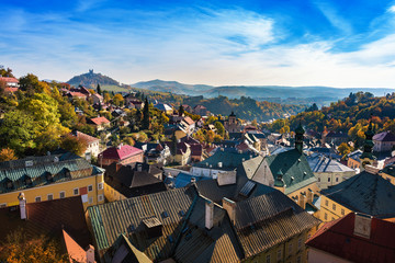 Autumn in old town with historical buildings in Banska Stiavnica, Slovakia, UNESCO Wall mural