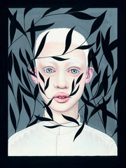 Illustrated portrait of albino boy