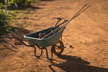 Work tools in wheelbarrow