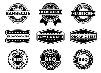 barbecue logo stamp and label set