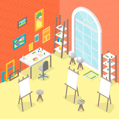Artist Workplace Interior with Furniture Isometric View. Vector