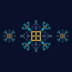 Dark blue and yellow ethnic design with traditional tribal motifs of crooked lines, triangles, squares, circles. Mayan symbol ethnic geometric pattern decor. Embroidery style winter clothes ornament.