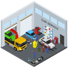 Car Service Interior with Furniture and Equipment Isometric View. Vector