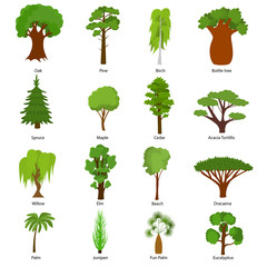 Different Green Tree Types Icons Set. Vector