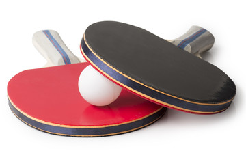 Red and Black Ping Pong Paddles  - Top facing camera