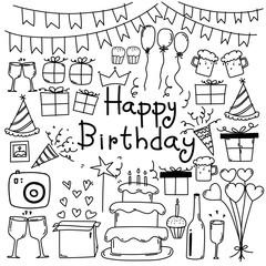 Line Hand Drawn Doodle Vector Happy Birthday Set.