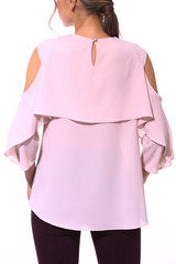 party formal pink blouse with bare shoulders close up photo on model isolated on whi