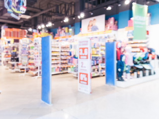 Blurred entrance area of kids toy store