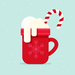 Coffee Mug with Marshmallows and Candy Cane. Flat Design Style.