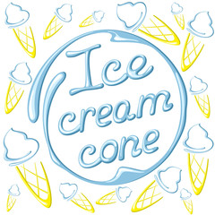 Vector illustration of  ice cream cones on a white background.