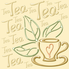 Vector illustration with cup, tea leaves and lettering. Suitable for card, napkin or menu cafe