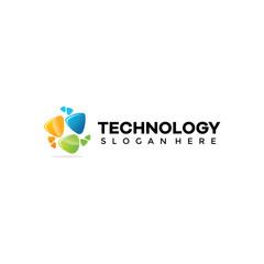 Abstract Technology Vector Logo Template
