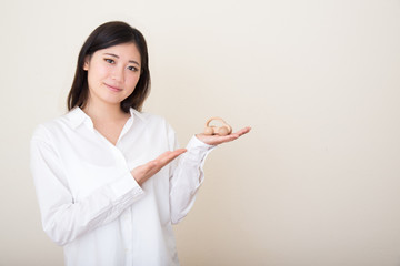 model car in young asian woman's hands