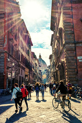 Florence, Tuscany – City Street Scene with busy Crowd in Backlit