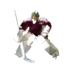 Ice hockey goalie in dark red jersey, abstract polygonal vector illustration