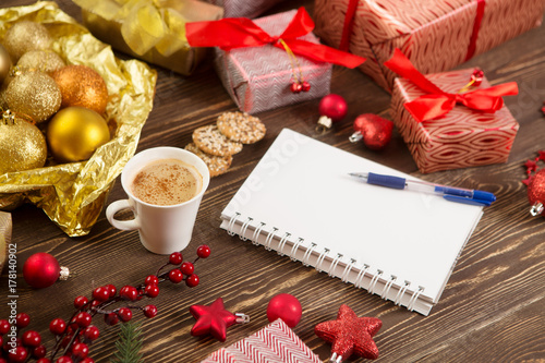 christmas gifts presents wish list and christmas decorations on wood background christmas lifestyle concept - Christmas Decorations List