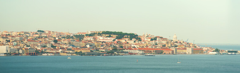 Aerial panorama of Lisbon old city. View from Tagus river.