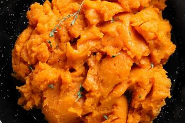 Mashed sweet potato, closeup
