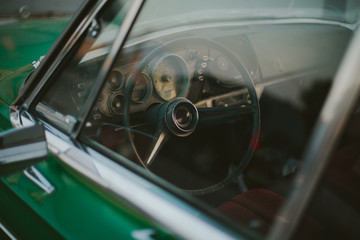 Classic Car Interior shot through window