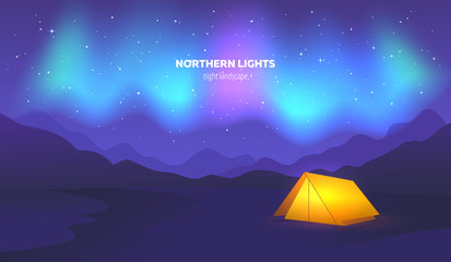 Camp tent under beautiful northern lights in night sky. Vector illustration.