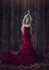 Beautiful woman with long white hair posing in a luxurious red dress with a long train standing in a autumn pine forest. Creative colors and Artistic processing.