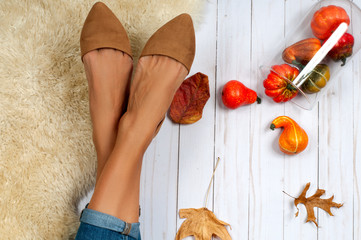 Female feet and fashion shoes, autumn accessories