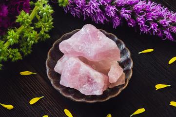 Rose Quartz Crystals  on Dark Table