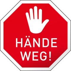 Grafik Stoppschild Hände Weg mit Hand
