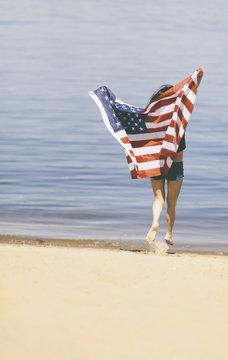 free woman with usa flag