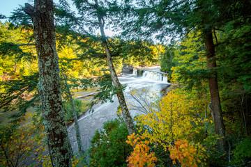 Marquette Waterfall Peeking Through Forest