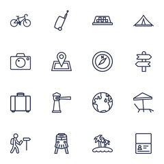 Set Of 16 Travel Outline Icons Set.Collection Of Taxi, Awning, Pin And Other Elements.