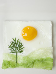 Landscape made with egg and vegetables