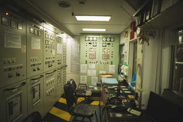 Engine control room in ship