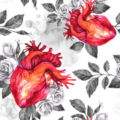 Watercolor seamless pattern, anatomic hearts with sketches of roses and leaves in vintage medieval style. Valentines day illustration. Tattoo art symbol of love. Gothic. Can be use in holiday design.