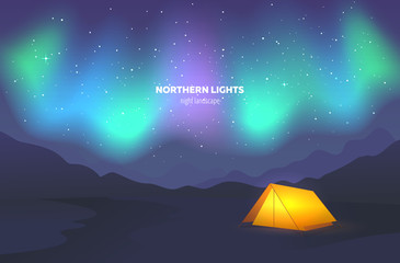 Camp tent under night sky. Landscape with beautiful northern lights. Vector illustration.