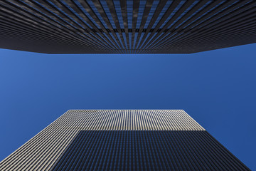 Upward Perspective of Two Skyscrapers