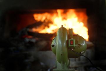 Blower fan was blow to the fire
