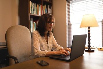 Attentive woman using laptop at desk