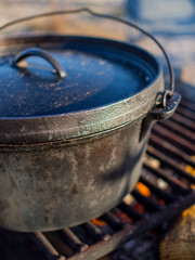 Cast Iron Dutch Oven on Fire
