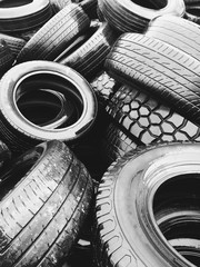 Pile of discarded car tires