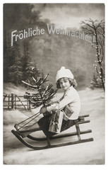 Little girl sled Christmas tree Nostalgic vintage picture