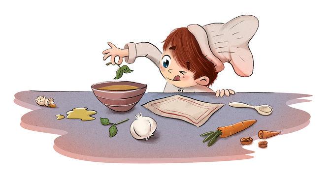 Niño cocinando con ingredientes en la cocina