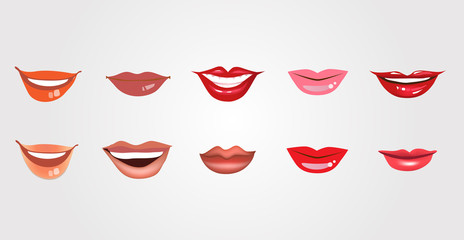 Set of realistic lips for design isolated on white background. Vector illustration, clip art.