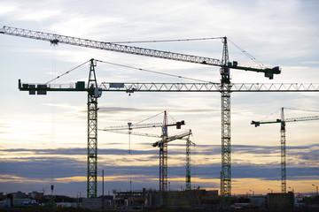 Kräne, Großbaustelle, Bau