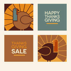 Happy Thanksgiving flat minimalist design elements. Abstract turkeys and text designs. For greeting cards, web banners, flyers, print.