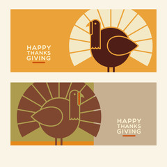 Happy Thanksgiving flat minimalist banner designs with abstract turkey and space for text. For greeting cards, banners, flyers, print.