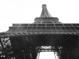 Views bottom of the Eiffel Tower in B&W
