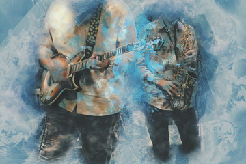 Abstract beautiful playing Guitar and saxophone in the foreground, Watercolor painting background and Digital illustration brush to art.