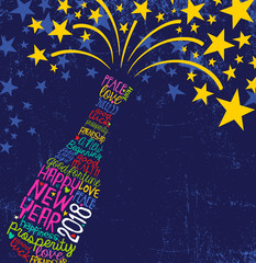 Happy New Year 2018 design. Abstract champagne bottle with inspiring handwritten words, bursting stars. Blue background with space for text.