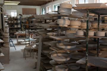 Earthen pots kept in shelf